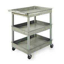 "Luxor TC111 Gray 32"" x 24"" x 38-1/2"" 3 Shelf Tub Cart"
