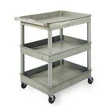 "Luxor TC111 Gray 32"" x 24"" x 38-1/2"" 3 Shelf Tub Cart"