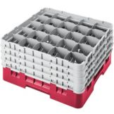 "Cambro 25S900163 Red 9-3/8"" High Full Size Glass Rack - 2 / CS"