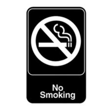 "Vollrath 5613 Traex Black ""NO SMOKING"" Sign w/ White Letters"