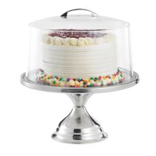 "TableCraft 821422 12-3/4"" Stainless Steel Cake Stand with Cover"