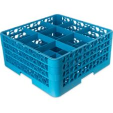 Carlisle® RG9-314 OptiClean Blue 9-Compartment Glass Rack