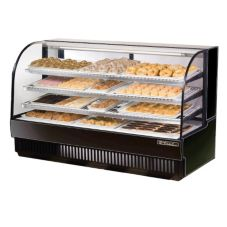 True® Black Curved Glass Dry Bakery Display Case, 37 Cubic Ft