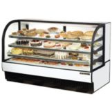 True® Black Curved Glass Refrigerated Bakery Case, 43 Cubic Ft