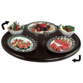 "Gourmet Display® 24"" Epic Edge Black Lazy Susan Round Tray"