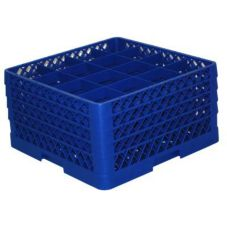 Traex® TR8DDDD-44 Blue 16 Compartment Glass Rack with 4 Extenders