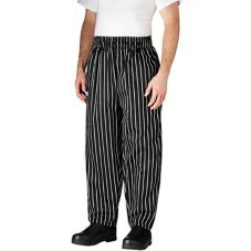 Chefwear® 3000-35 LG Large Black Chalkstripe Baggy Chef Pants