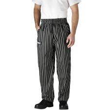 Chefwear® 3500-35-MD Black Chalkstripe Medium Ultimate Chef Pants