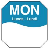"DayMark MoveMark Trilingual Octagonal 1"" Monday Day Label"