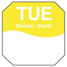 "DayMark 1100602 Trilingual Octagonal 1"" Tuesday Day Label - 1000 / RL"