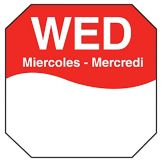 "DayMark 1100603 Trilingual Octagonal 1"" Wednesday Label - 1000 / RL"