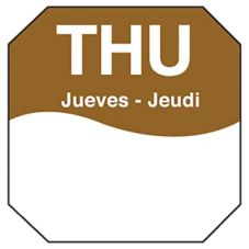 "DayMark MoveMark Trilingual Octagonal 1"" Thursday Day Label"