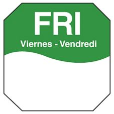"DayMark 1100605 Trilingual Octagonal 1"" Friday Day Label - 1000 / RL"
