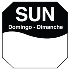 "DayMark 1100607 Trilingual Octagonal 1"" Sunday Day Label - 1000 / RL"