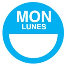 "DayDots 10112-01-21 2"" Round Blue Bilingual Monday Label - 1000 / RL"
