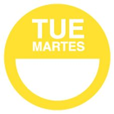 "DayDots 10112-02-21 2"" Yellow Bilingual Tuesday Label - 1000 / RL"