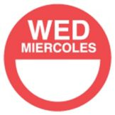 "DayDots 10112-03-21 2"" Round Red Bilingual Wednesday Label - 1000 / RL"