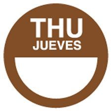 "DayDots 10112-04-21 2"" Brown Bilingual Thursday Label - 1000 / RL"