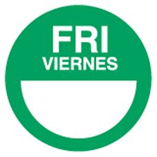 "DayDots 10112-05-21 2"" Round Green Bilingual Friday Label - 1000 / RL"