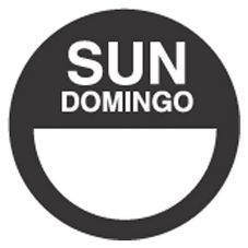 "DayDots 10112-07-21 2"" Round Black Bilingual Sunday Label - 1000 / RL"