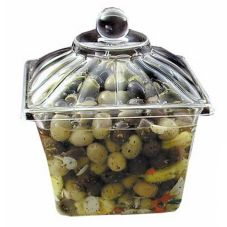Delfin 1-Gallon Clear Square Amphora Solid Lid Set