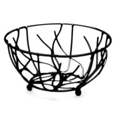 "Elite Global Solutions 9"" Round Black Wire Basket"