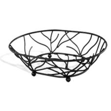 "Elite Global Solutions WB1283-B 12"" x 8"" Black Oval Wire Basket"