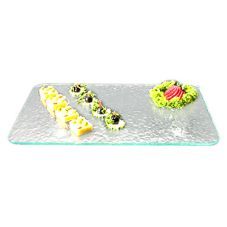 "Gourmet Display GL183G Green Acrylic 18"" x 12"" Textured Tray"