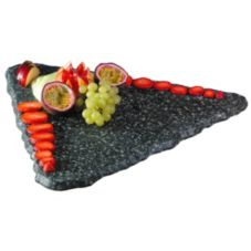 "Gourmet Display® 16"" Black Triangle Quarry Stone Tray"
