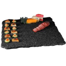 "Gourmet Display® SS2289-1 Black 22"" Square Quarry Stone Tray"