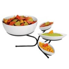 Gourmet Display SR801-13 Black Metal Canoe Bowl Display with 3 Bowls