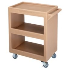 Cambro Open Service Cart w/ Three 15 x 22 Shelves, 4 Swivel, Cof Beige