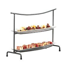 Rectangular Pewter 2-Tier Metal Stand w/ Porcelain Platters