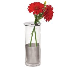 "Round Glass Vase w/ Metal Top, 5"" x 10"" H"