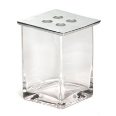 "Square Glass Vase w/ Metal Top, 5"" x 5"" H"
