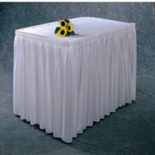Snap Drape #100-I WHITE Wyndham Shirred 21.5 Ft x 29 In Table Skirt