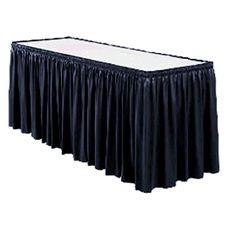 "Snap Drape #100-I BLACK Wyndham Shirred 21.5 Ft x 29"" Table Skirt"