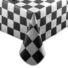 "Marko 57411554L503 Fashion Blk Flag Checkered 54"" x 15 YD Tablecloth"