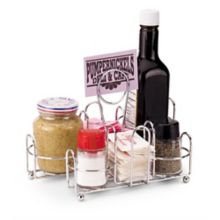 Traex WR-1000 Chrome Wire Condiment Caddy with Card Holder