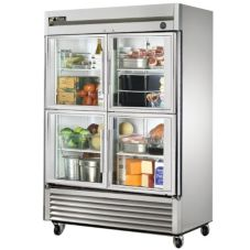 True® Half Glass 4-Door 2-Section Reach-In Refrigerator, 49 Cu Ft