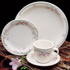 "Homer Laughlin 3081347 Pink Sage Empire 9-3/4"" Coupe Plate - 24 / CS"
