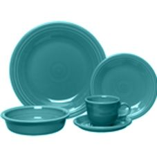 Homer Laughlin 0855-0107 Turquoise 20-Piece Place Setting - 20 / ST