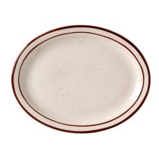 Vertex® China Caravan Brown Speckled Double Band 9-1/2In. Platter