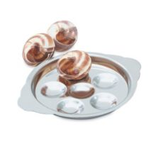 Mirror Finish S/S 6-Well Snail Plate, 6-7/8 x 5-7/16 x 3/4