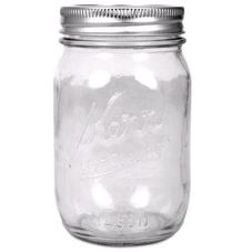 Kerr 7061000503 Glass 16 Oz. Mason Jars with Lids / Bands - 12 / CS