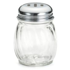 TableCraft 260SL 6 Oz. Glass Cheese Shaker with Slotted Lid