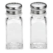 Tablecraft Square Glass 2 Oz Salt & Pepper Shakers with S/S Tops