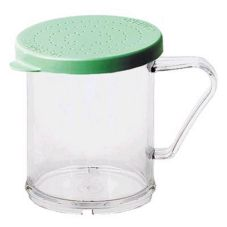 Cambro 96SKRF135 Clear 10 oz Shaker with Green Fine Grain Product Lid