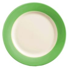World Tableware BB-37-G Montego Bay Green Brushed Band Plate - 12 / CS
