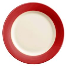 World Tableware BB-37-R Montego Bay Red Brushed Band Plate - 12 / CS